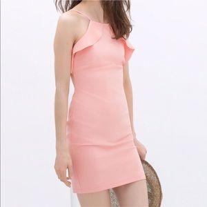 Zara Tube Bodycon Front Ruffle Mini Dress
